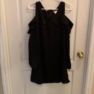 Black cold shoulder long sleeve dress